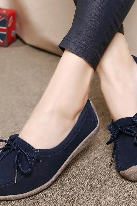 Faux Suede Lace-Up Rounded-Toe Loafers