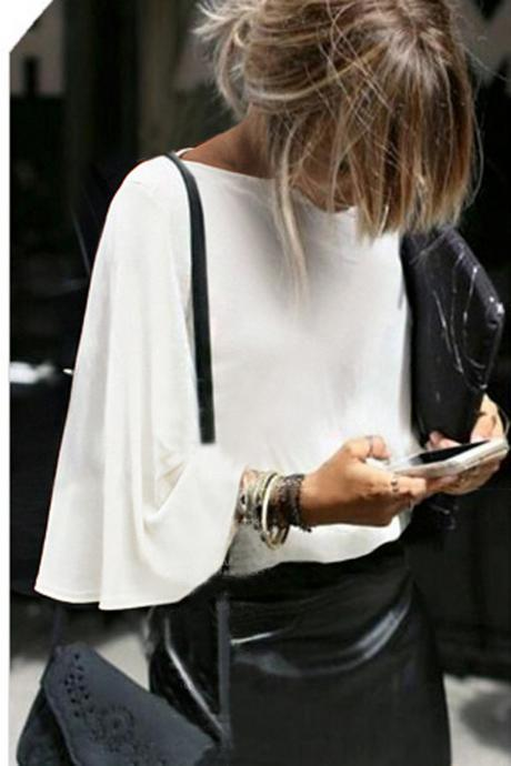 Pure Color Round Neck Loose Sleeve Batwing Sleeves Blouse