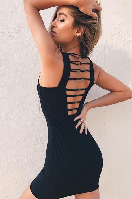 High-quality Sexy Sleeveless Backless Hollow mini Bodycon Dress