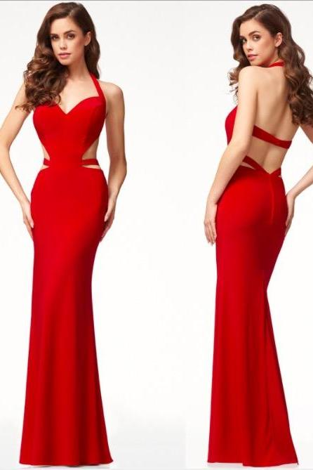 Sexy Backless halter Long Party dress