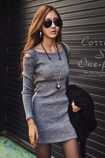 U-Neck Off Shoulder Long Sleeve Dress(Extra large code)