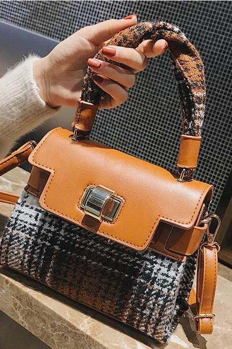 Chic Plaid Pattern Women Satchel