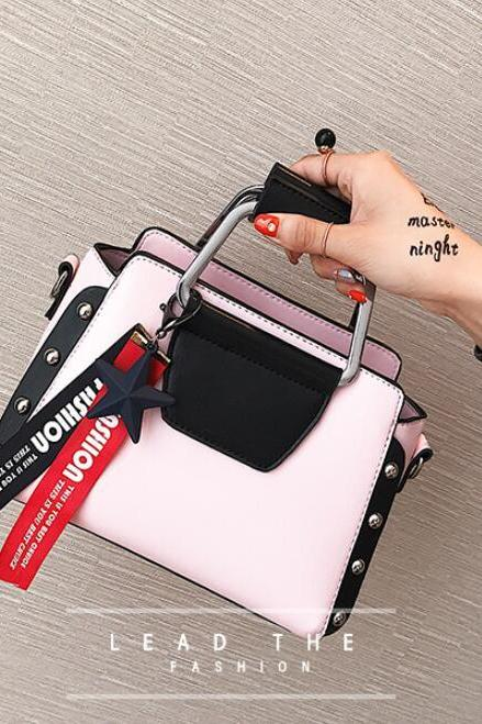 Trendy Color Block Metal Handle Women Satchel