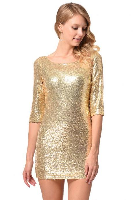 Shinning Backless Sequined Short Party Bridesmaid Dress