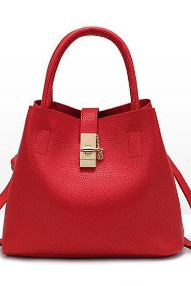 Ladylike Solid Color Soft PU Women Satchel