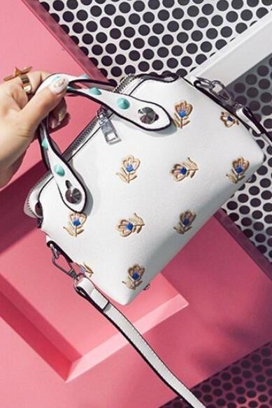 Embroidery Flower Rivet Belt Women Satchel