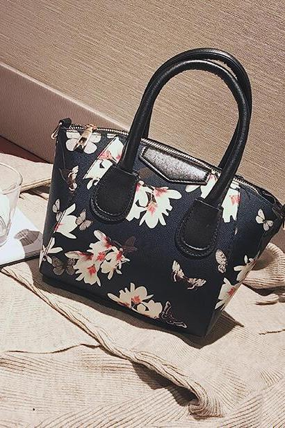 Shell Shape Floral Printing Women Satchel