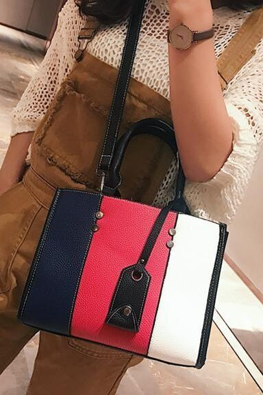 Korean Style Color Block Women PU Satchel