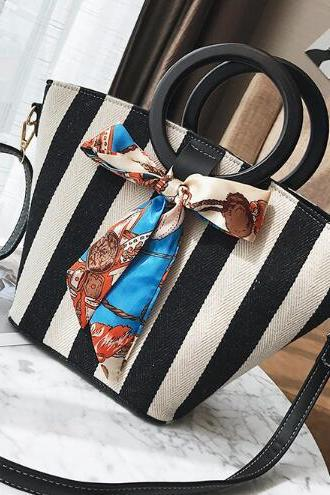 Classic Circular Handle Stripe Pattern Satchel