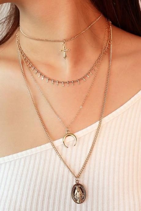 National Wind Notre Dame Cross Pendant Multilayer Tassel Necklaces