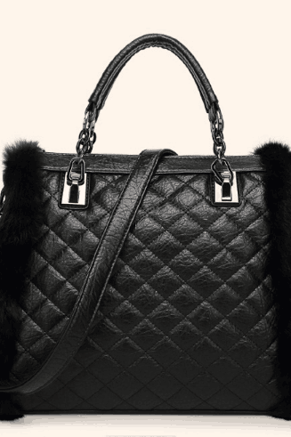 Quilted Lining Plush Design Zipper Women Satchel