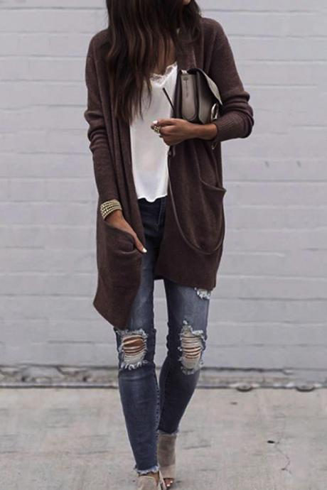 Long Loose Full Sleeve Big Pockets Open Long Coat