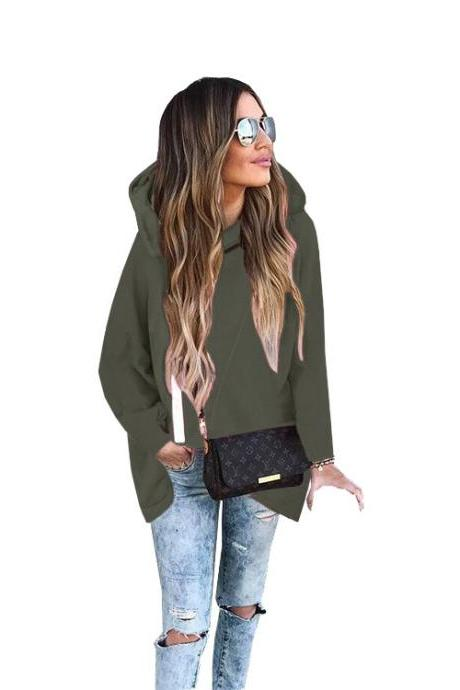 Loose Long Full Sleeve Hooded Irregular Solid Coat