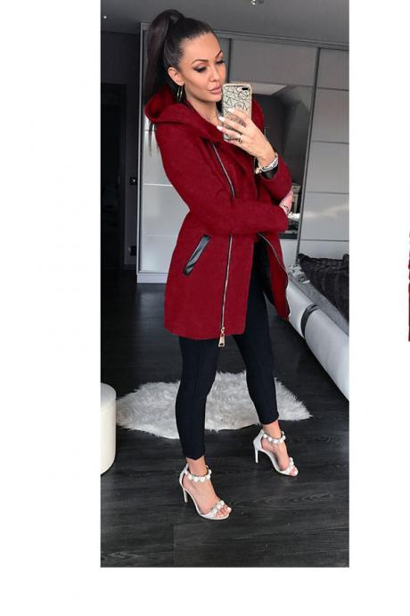 Slim Long Sleeve High Collar Side Zipper Long Hooded Coat