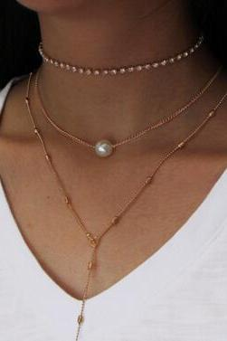 Crystal Pendant Three Layers Of Pearl Necklace