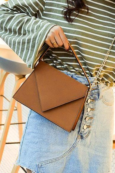 Concise Solid Color Envelope Shape Women Satchel