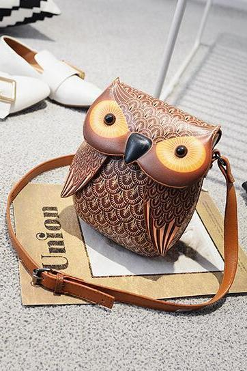 Novelty 3D Owl Pattern Printing Crossbody Bag
