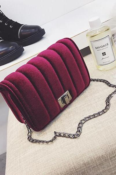 Solid Color Velvet Chain Cross Body Bag