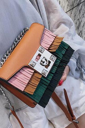 Trendy Colorful Tassel Mini Crossbody Bag