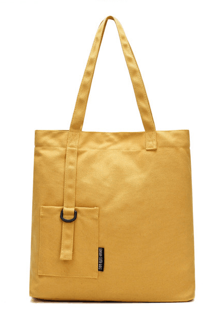 Canvas Tote Bag Featuring Attached Pouch