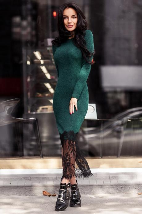 Lace Long Sleeves Splicing Bodycon Knitted Long Party Dress