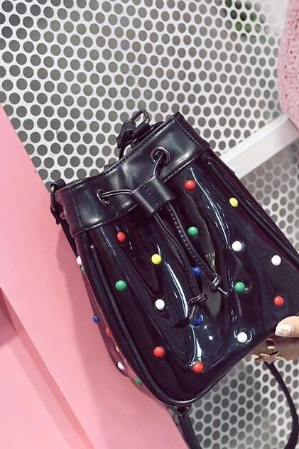 Bucket Shape Colored Rivets Cross Body Bag
