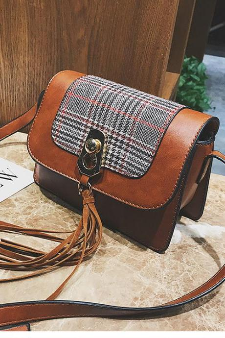 Korean Style Color Block Plaid Crossbody Bag