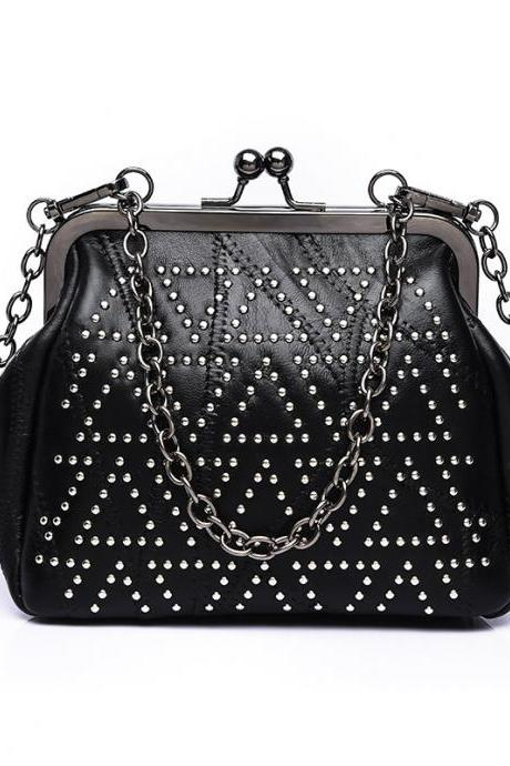 Dot Rivets Adornment Chain Crossbody Bag