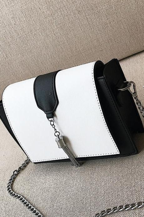 Trendy Patchwork Chain Crossbody Bag