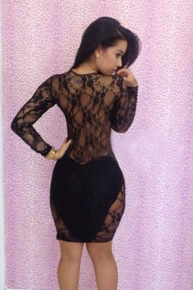 Lace Long Sleeves Bodycon Hollow Out Knee-length Dress