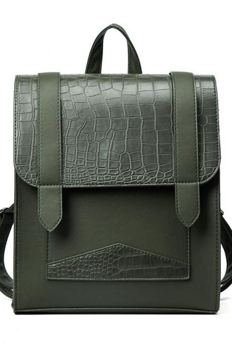 Casual Croco-Embossed Women PU Backpack