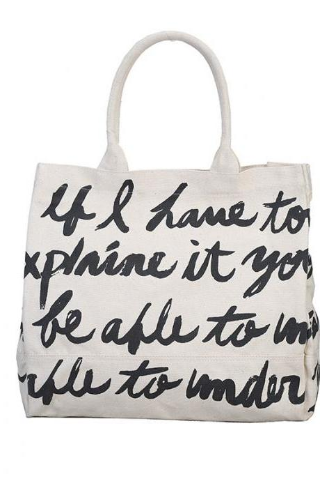 Personality Letter Pattern Canvas Satchel