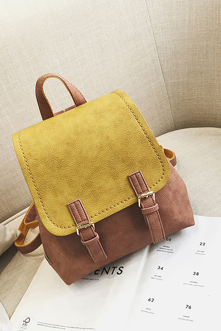 Vintage Color Block Soft PU Backpack