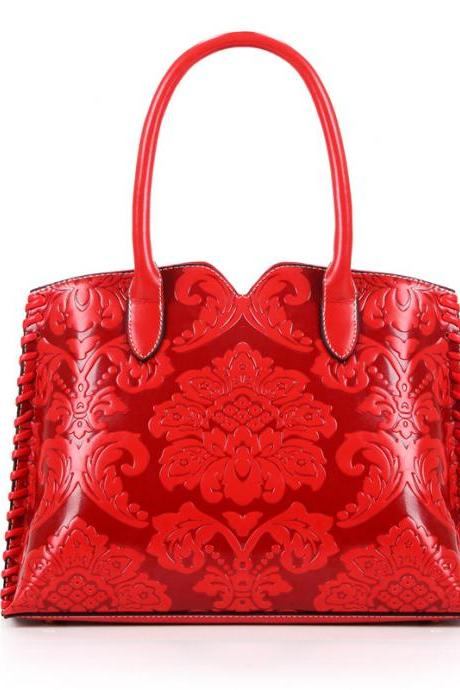 Ethnic Knitted Floral Embossed Women Satchel