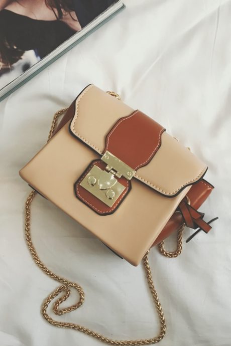 Latch Decorated Color Block Crossbody Bag