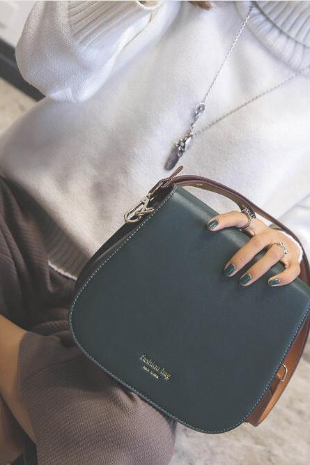 Simple PU Saddle Crossbody Bag
