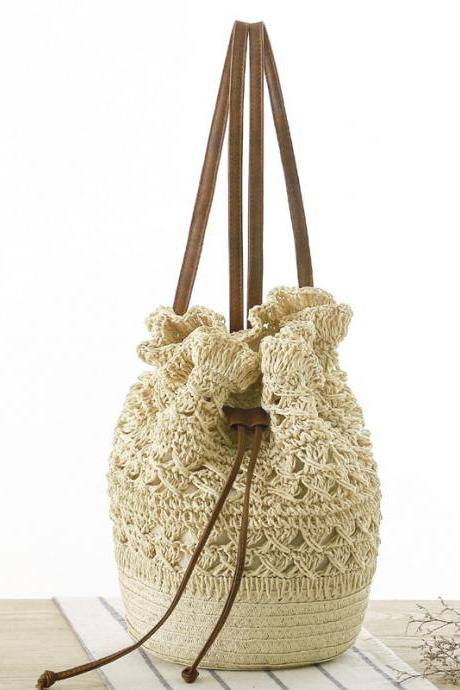 Handmade Crochet Hollow Drawstring Bucket Bag, Backpack