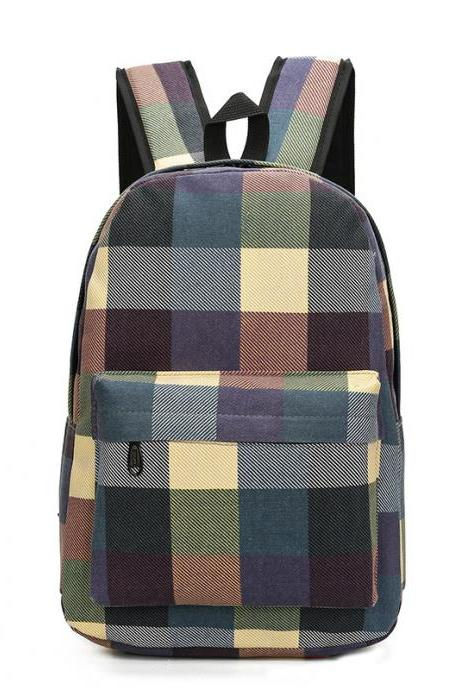 Color Block Plaid Canvas Unisex Backpack