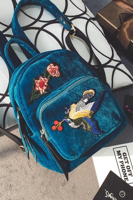 Korean Style Suede Embroidery Backpack