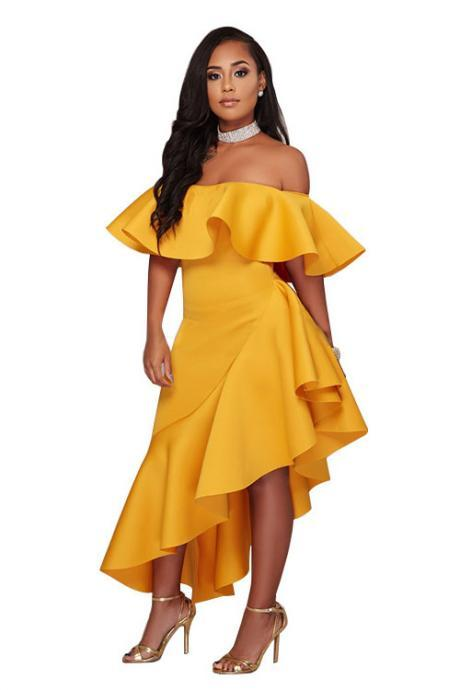 Off Shoulder Ruffles Irregular Candy Color Party Dress