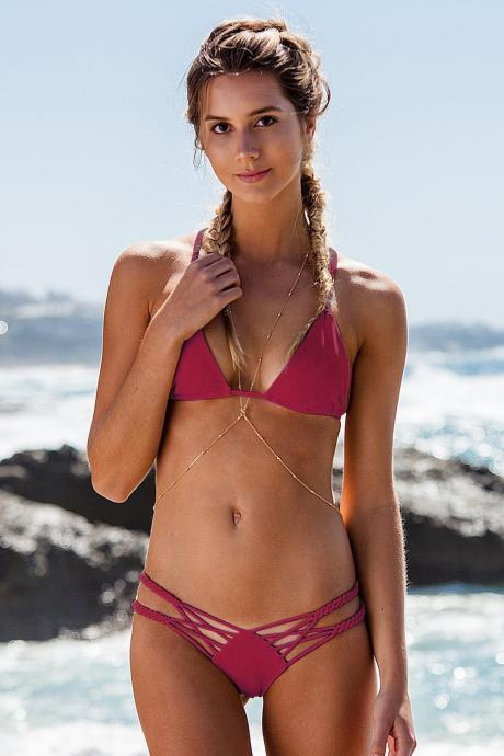 Hand Woven Candy Color Color Straps Bikini Set