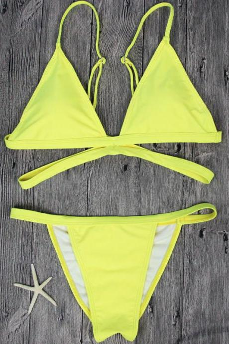 Sexy Yellow Bandage Straps V-neck Bikini Set