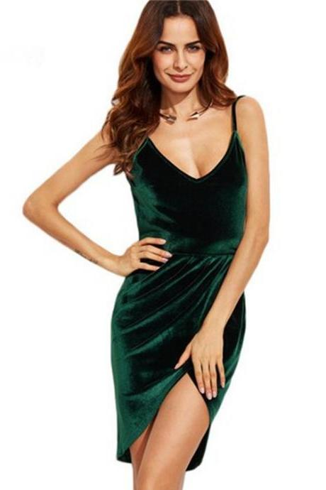 Green V-Neckline Velvet Front Split Short Dress