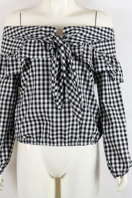 Black White Gingham Tie-Accent Off-The-Shoulder Long Cuffed Sleeves Blouse Featuring Ruffles