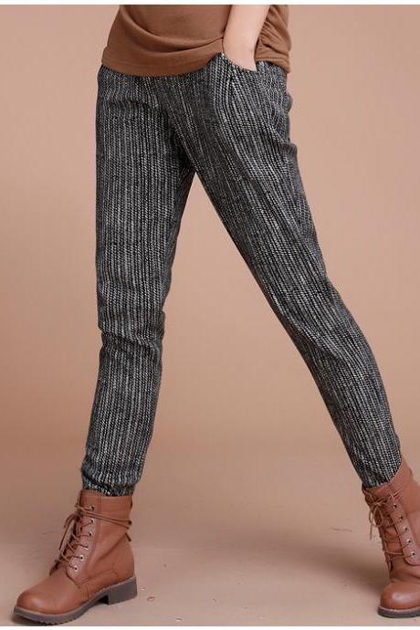 Thick Warm Stripe Long Pencil Casual Harem Pants