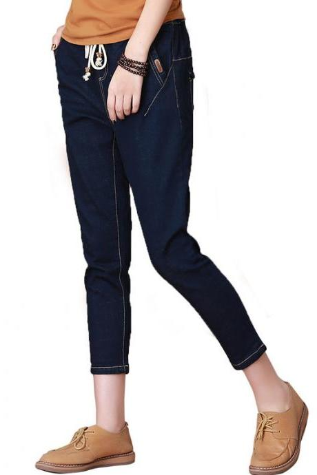Loose Elastic Long Harem Pencil Casual Jeans Pants