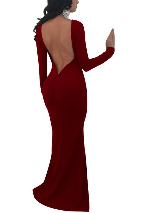Backless Slim Pure Color Long Sleeves Scoop Long Party Dress