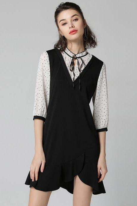 Irregular Patchwork Long Sleeves Polka Dot Knee-length Plus Size Dress