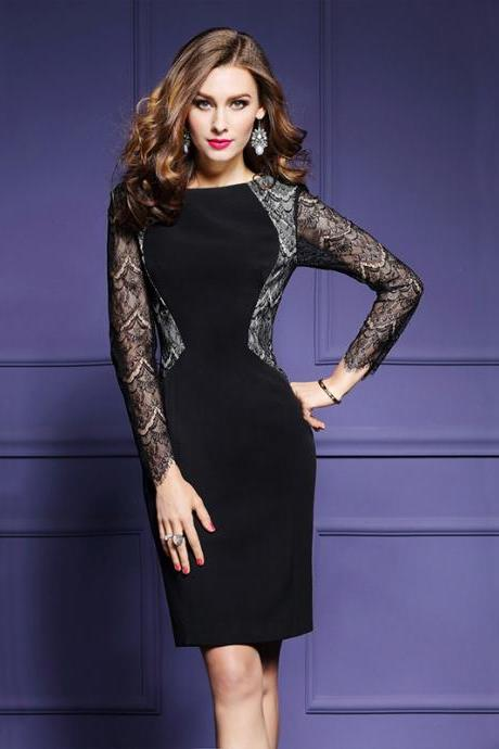 Lace Patchwork Long Sleeves Slim Knee-length Dress