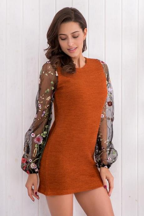 Embroidery Patchwork Long Sleeves Scoop Short Dress
